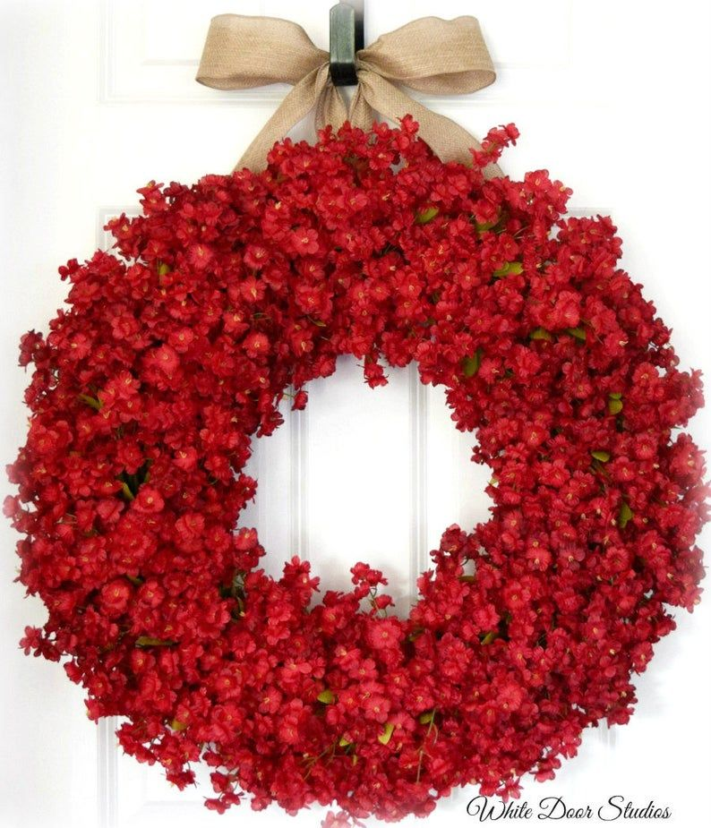 Red Ruffle Flower Front Door Wreath Summer and Fall Wreath