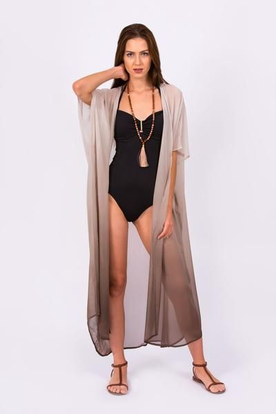 87155e9aae82c Grey Ombre Dip Dyed Chiffon Kimono - Available in Short, Mid and Full Length
