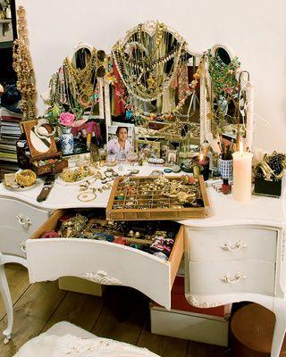 Designer Alice Temperley's jewel-filled vanity #dressing_room #jewelry #display #vanity