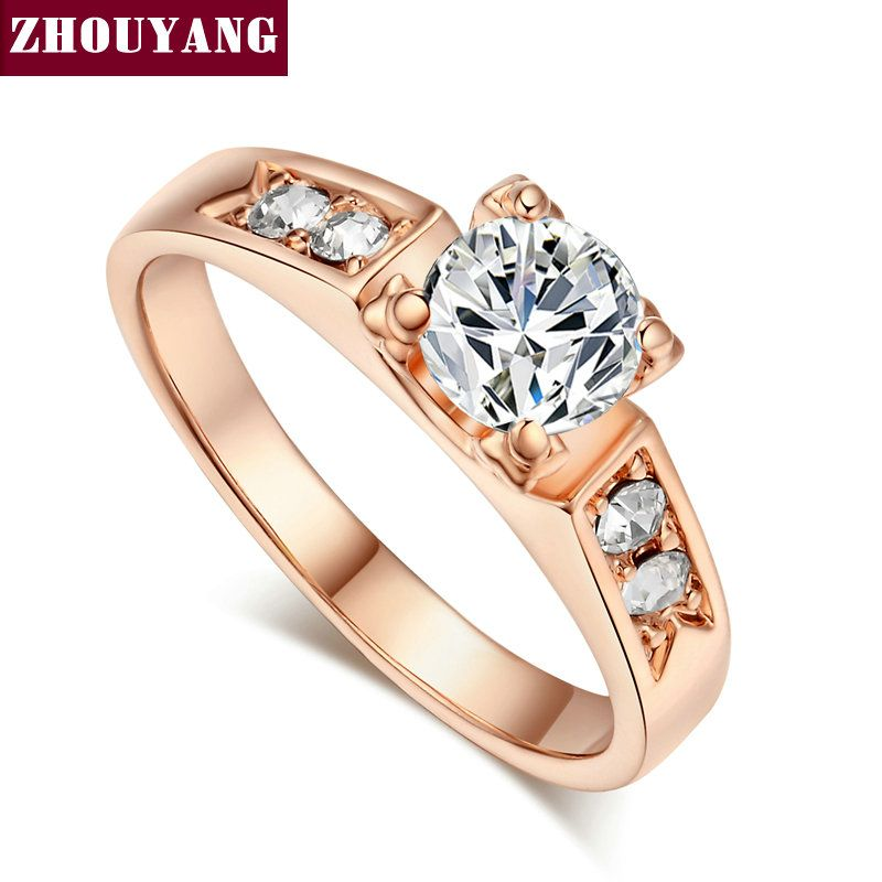 Wedding Ring Real Rose Gold White Gold Plated Ring