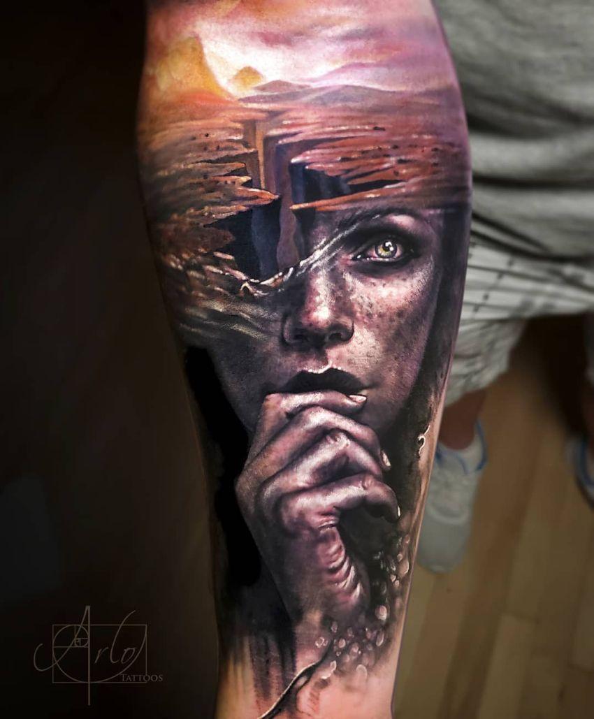 Arlo Di Cristina Arm Tattoo: Jaw-Dropping Face Morph Tattoos By Arlo DiCristina