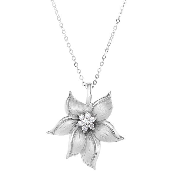 La preciosa sterling silver cubc zirconia matte flower pendant la preciosa sterling silver cubc zirconia matte flower pendant necklace overstock shopping top mozeypictures Image collections