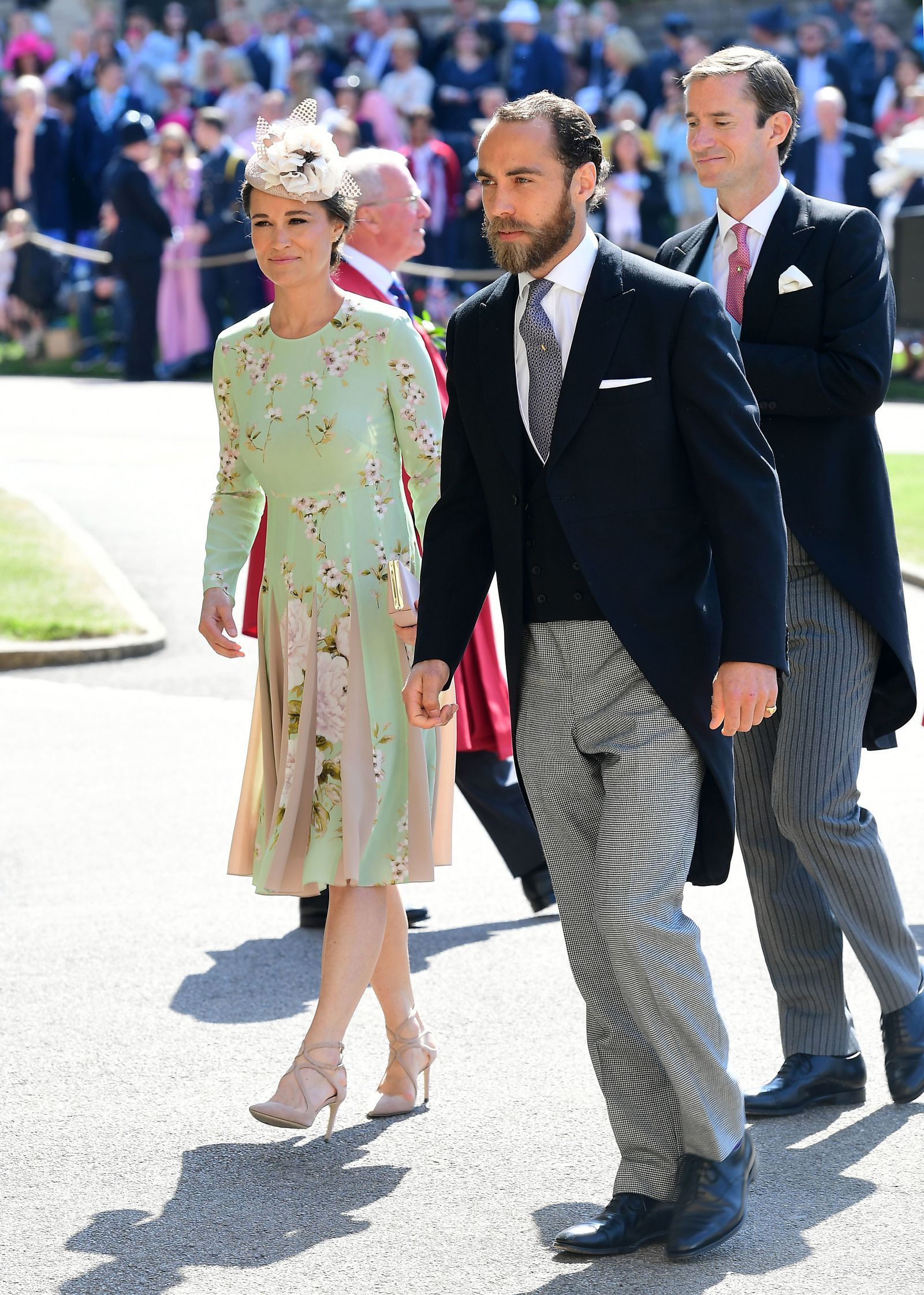 539ec03ed8 Pippa Middleton Was Glowing in a Silk Floral Dress at the Royal  Weddinggoodhousemag