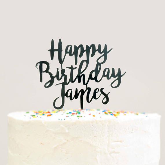 Modern Cursive Custom Personalized Name Happy Birthday Cake Topper Black Acrylic Laser Cut