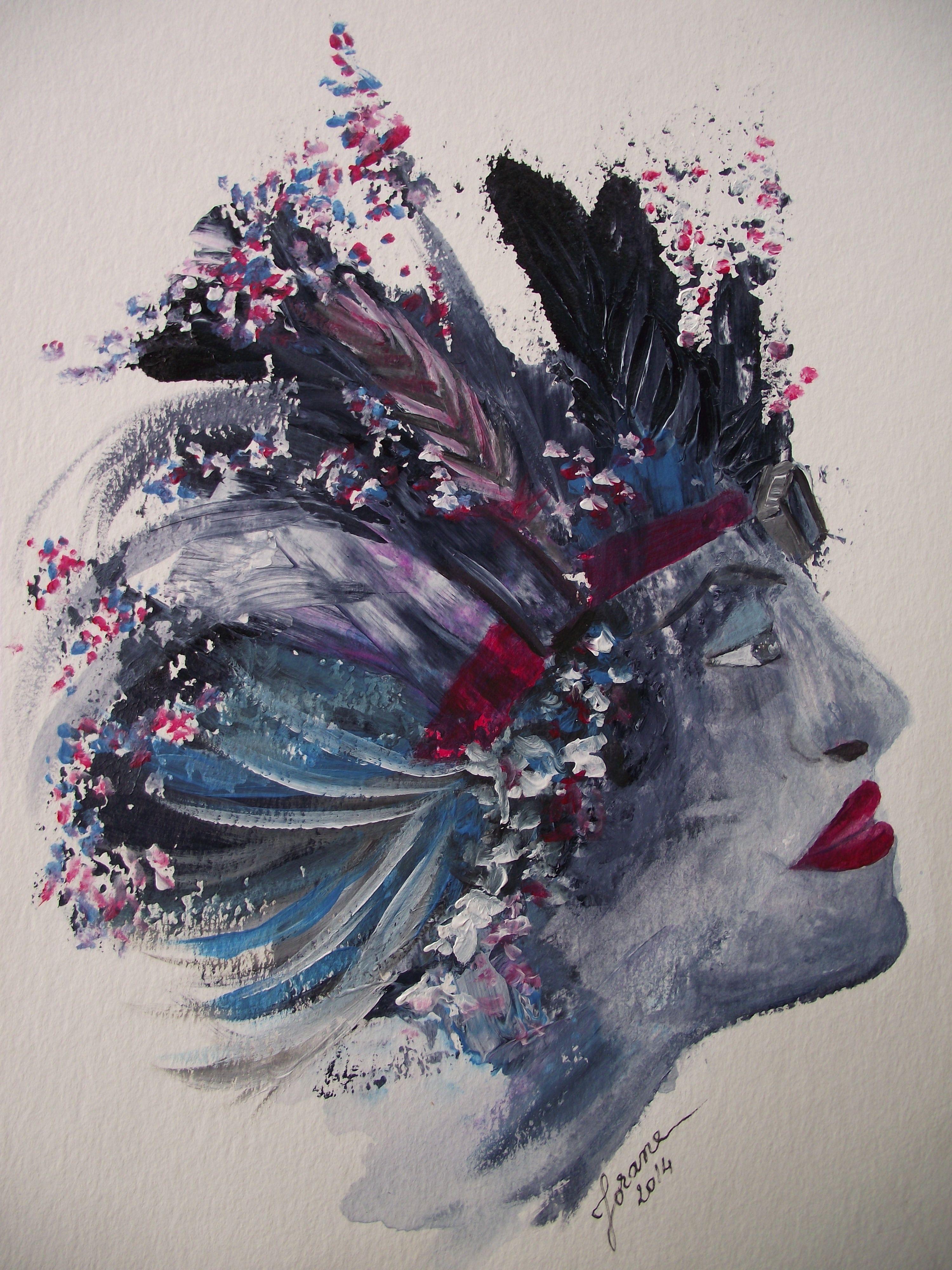Portrait Foli Z Number 2 Acrylique Sur Papier 300 Mg M2 Jorane