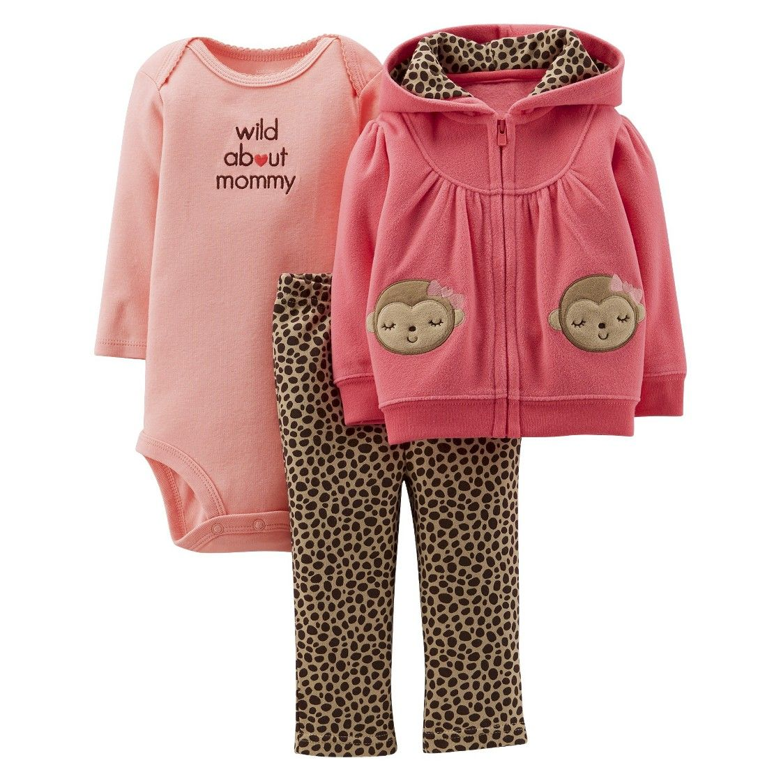 NEW Carter/'s Baby Girl 3 Piece Outfit Set Pink Brown Monkey 3 Months