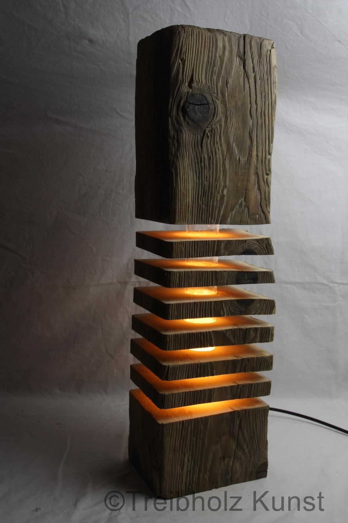 Treibholz Lampe Stehlampe Holz LED Leuchte Treibholzlampe Altholz Schwemmholz