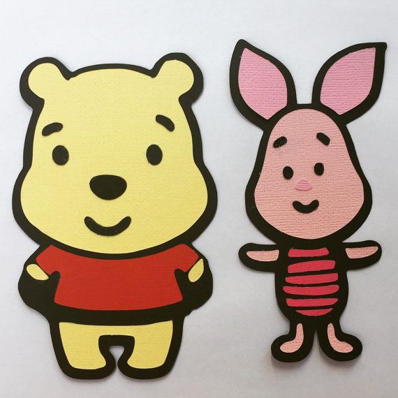 Two die-cuts { 1 X pooh & 1 X piglet }  Kawaii Winnie the Pooh and Piglet. Can be used for scrapbooking, card making or even party Winnie the pooh party card making scrapbooking