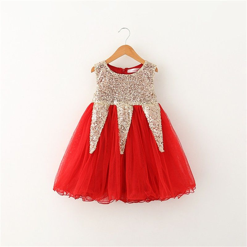 Baby Girl Dress Sparkle Sequin Tops Mini Infant Party Dress For