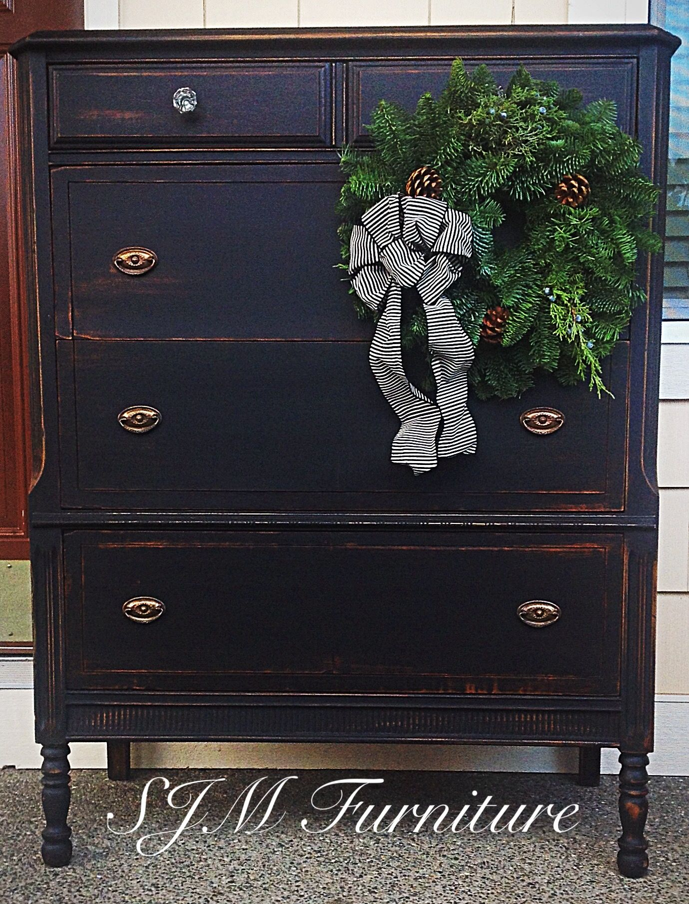 Antique Dresser Painted In Black Chalk Paint Distressed And Sealed With Clear Wax Original Hardware By Slm Black Chalk Paint Antique Dresser Redo Furniture