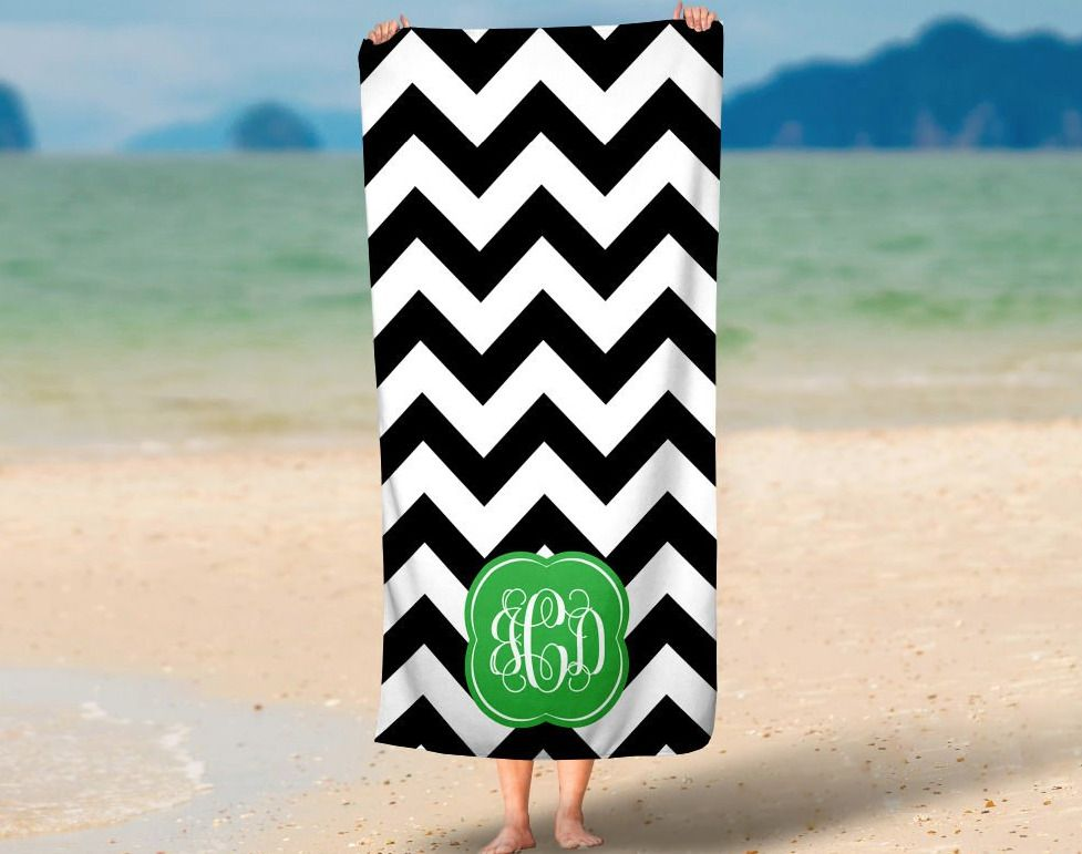 Personalized Beach Towel Chevron Custom Camp Towel 30x60