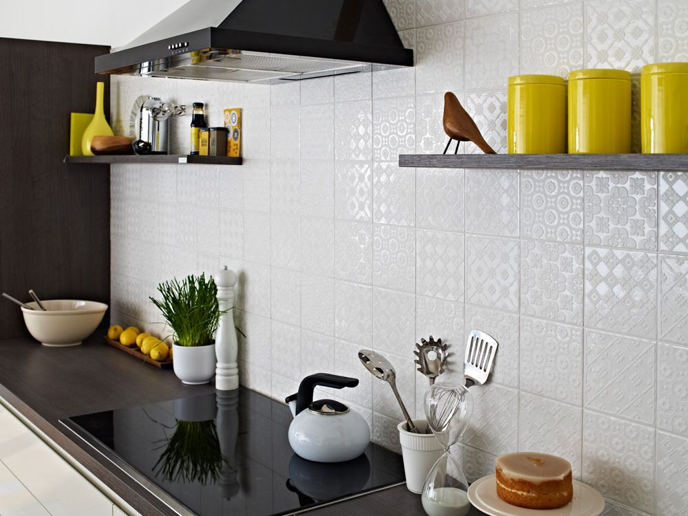 Exclusive To Topps Tiles, This Beautiful White Decorative Tile Is Perfect  For Adding A Touch. Patchwork TilesKitchen Wall ...