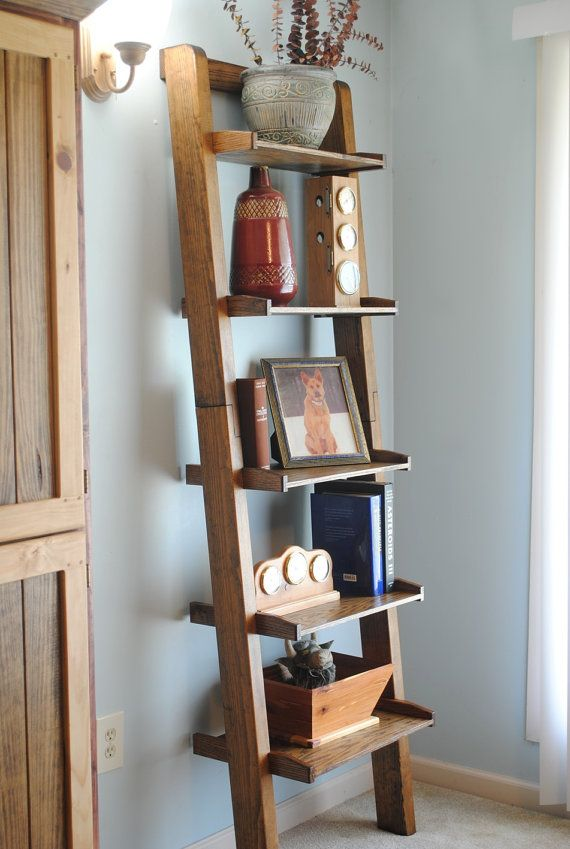 Pine Oak Ladder Bookshelf By Jlswoodwork On Etsy Bookcase Bookshelves