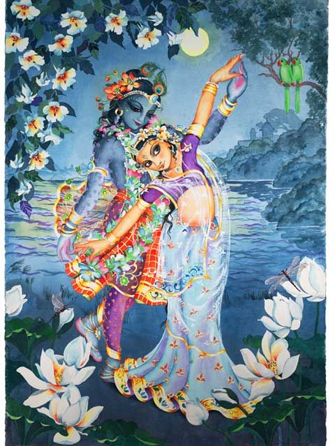 The flowers closed for the night, but they opened once again to marvel at the divine Splendor of Shrimati Radha Rani and Shri Krishna.
