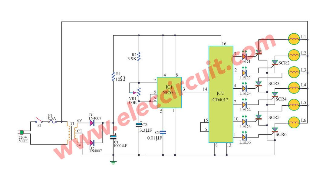 cheap home disco lights circuit by scr ic555 ic4017 electronics