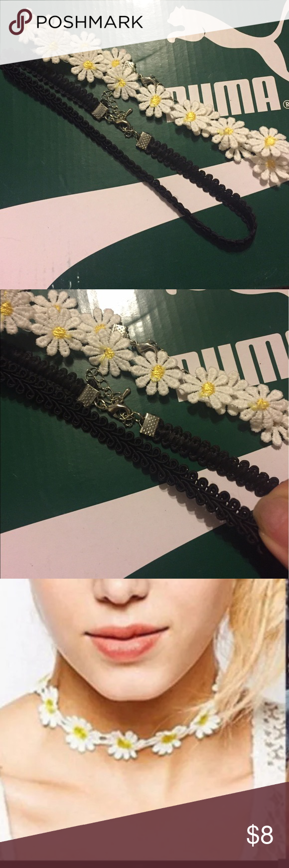 Daisy flower and black lace choker set bundle Set of 2. Never worn. No brand. Layer them together for a sassy look!! 🌸😻 Forever 21 Jewelry Necklaces