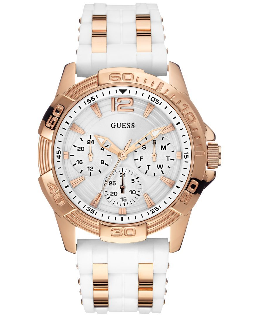 821c26223f8 Guess Women s Rose Gold-Tone Steel and White Silicone Strap Watch 43mm  U0615L1
