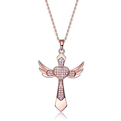 NEEMODA Womens Rose Gold Plated Cross Pendant Necklace with Cubic Zirconia Religious Angel Wings Fashion Jewelry *** Be sure to check out this awesome product.