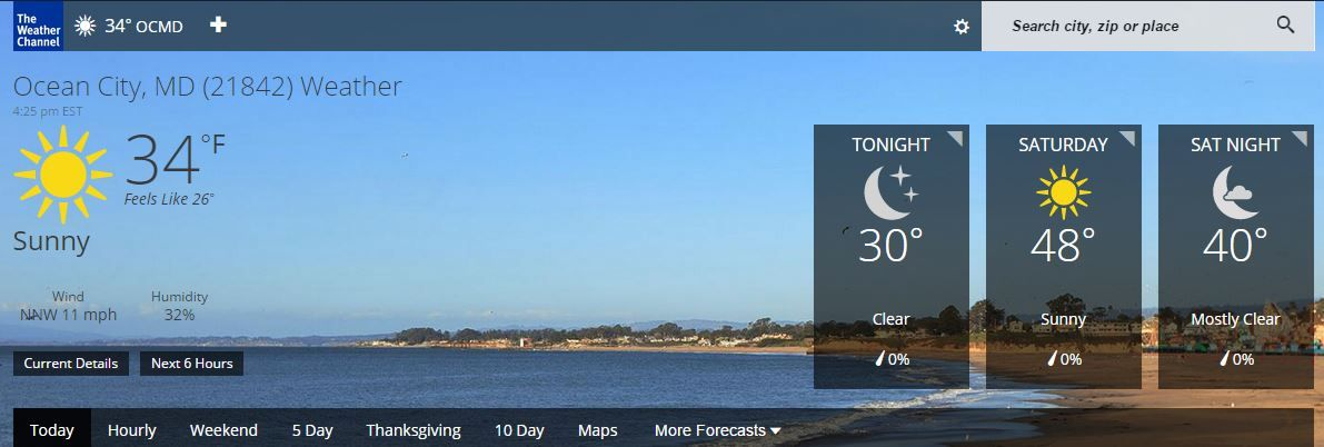 Ocean City Md Weather Forecast And Conditions With Images Ocean City Weather Forecast Weather