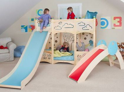 colorful-decorating-with-kids-bunk-beds-with-stairs-and-slide-for