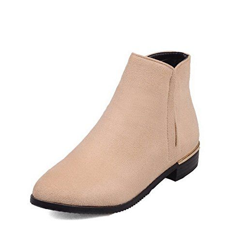 AllhqFashion Womens Round Closed Toe Lowtop LowHeels Solid Imitated Suede Boots Beige 33 >>> You can get additional details at the image link.(This is an Amazon affiliate link and I receive a commission for the sales)