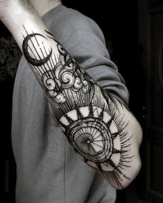 f1da7c1192bd6 amazing-mens-incredible-outer-forearm-sun-and-moon-tattoo-designs ...