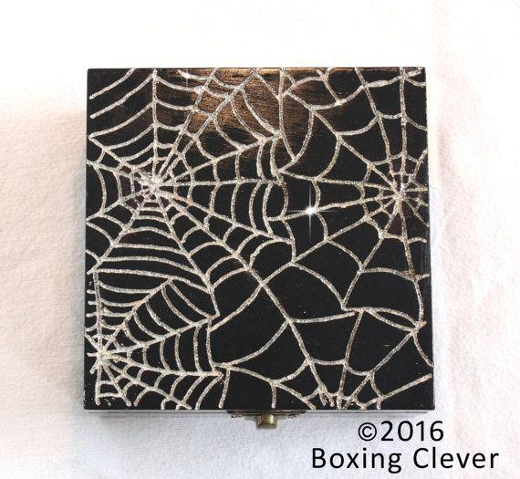 Spider Web Jewellery Box Wooden Engraved Silver Glitter Black