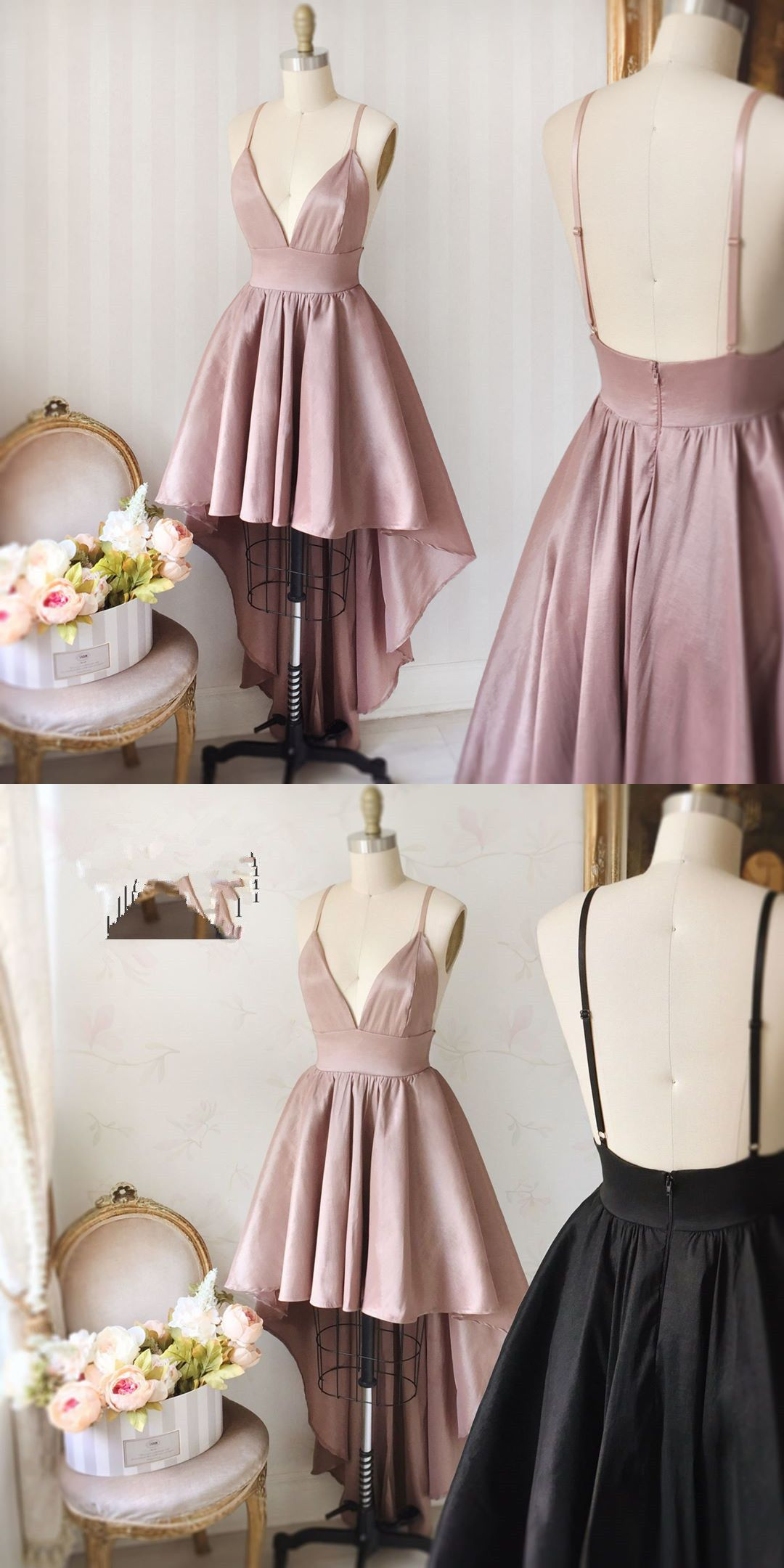 prom dresses, 2018 prom dress, pink homecoming dresses, high low ...