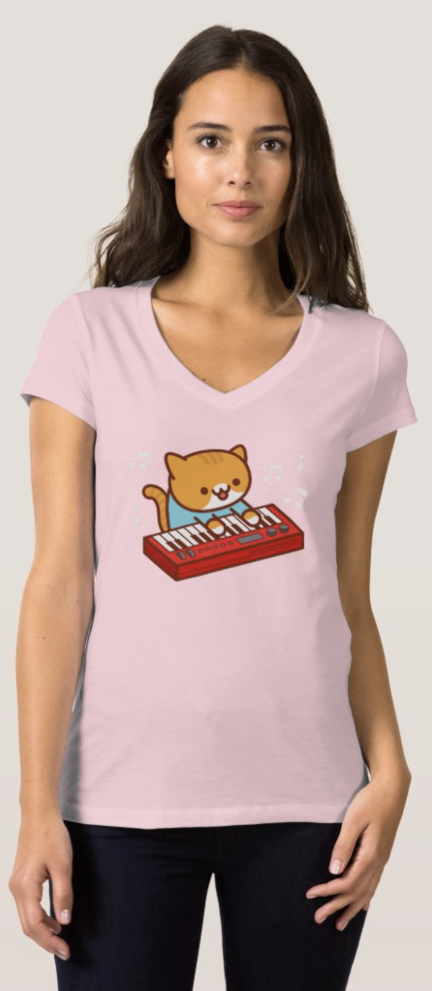 KEYBOARD CAT – Funny Cat V-neck T-shirt – Only $21.95 on Amazon