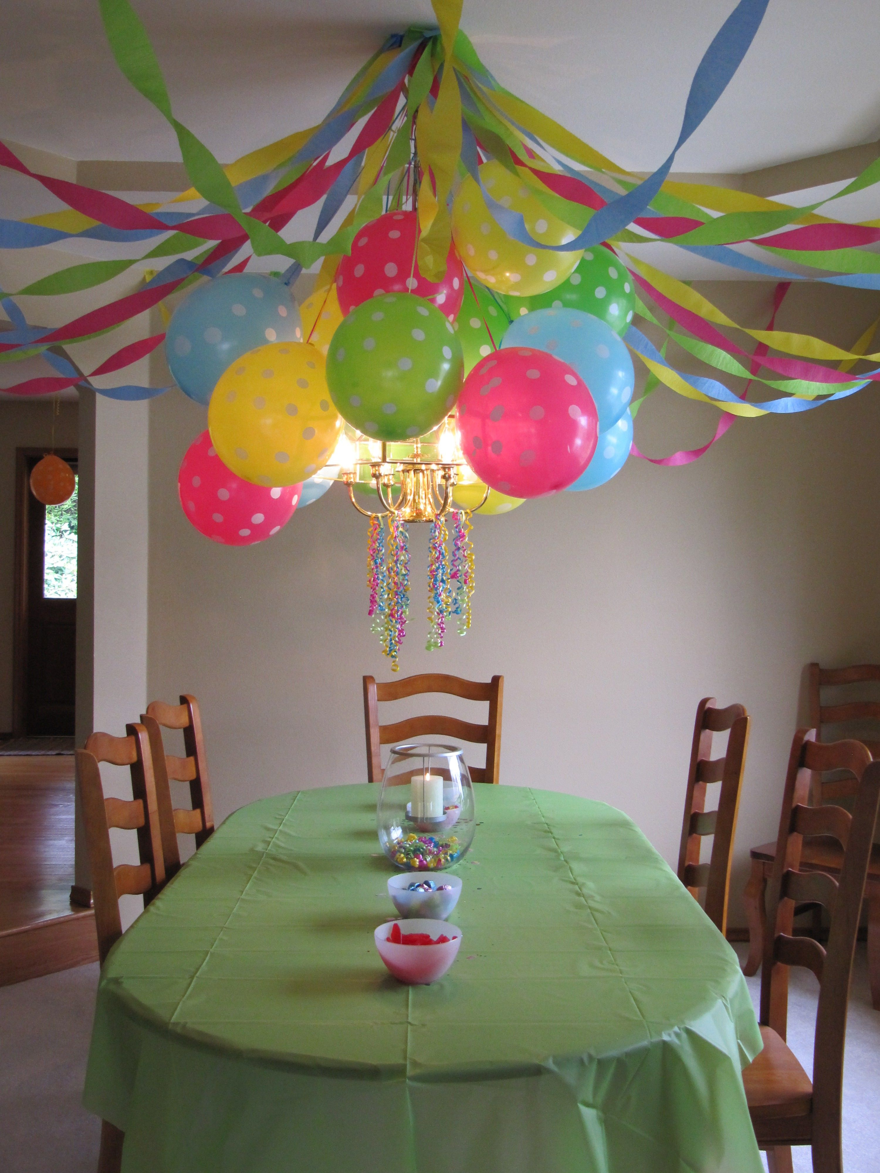 Birthday Party Polka Dot Balloons Streamers and GloLite Candle