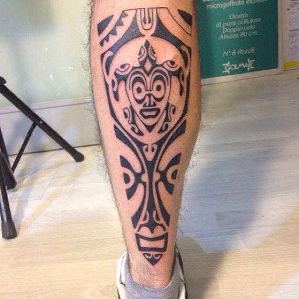 Tattoo Cool Legs: Mens Leg #Tattoo With Cool Tribal Joker Looking Design On