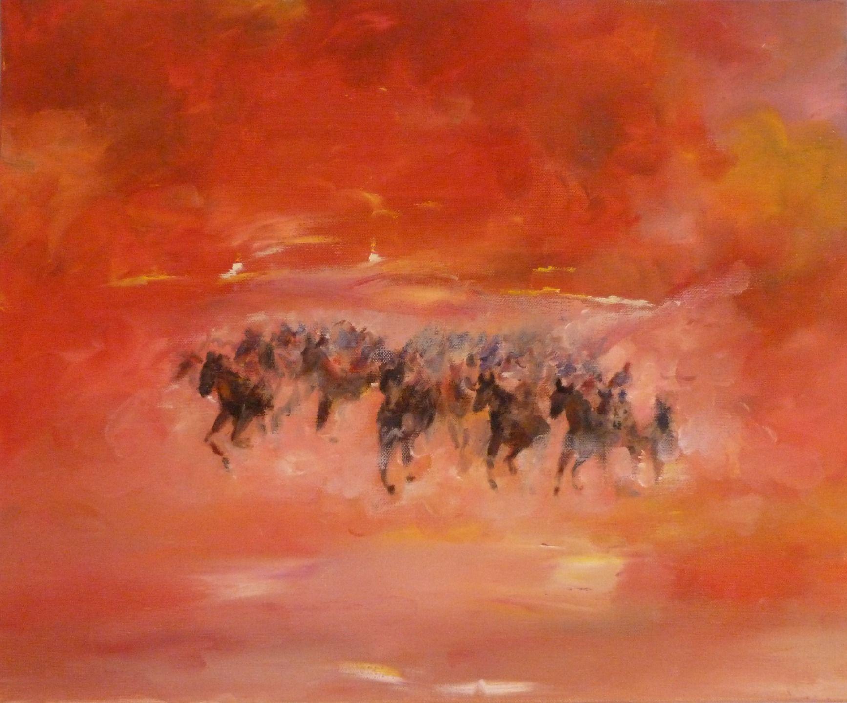 Peinture l 39 huile chevaux la horde sauvage peintures par bys peinture tableaux peinture - Pinterest peinture a l huile ...