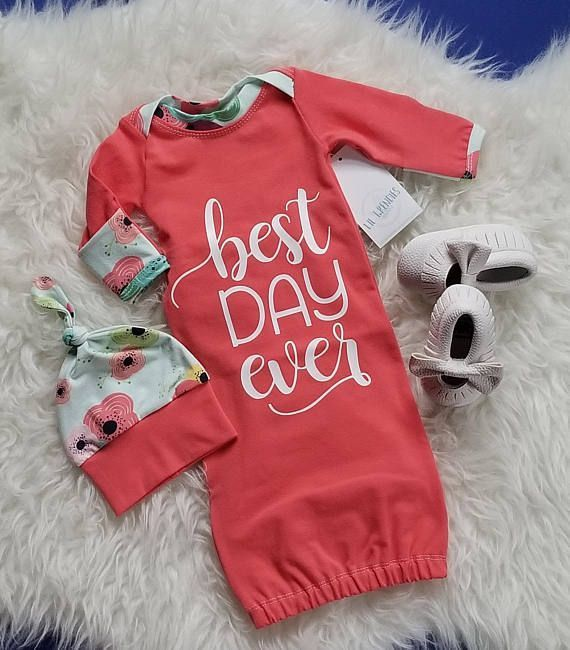 Best Day Ever Baby Gown Newborn Coming Home Outfit Baby Girl