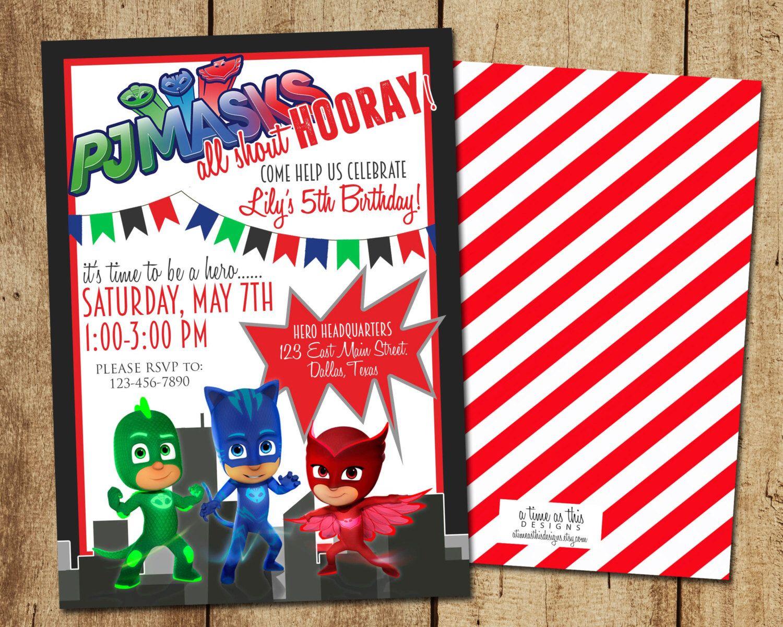 PJ MASKS BIRTHDAY Invitation DigitalPrintable – Digital Party Invitations