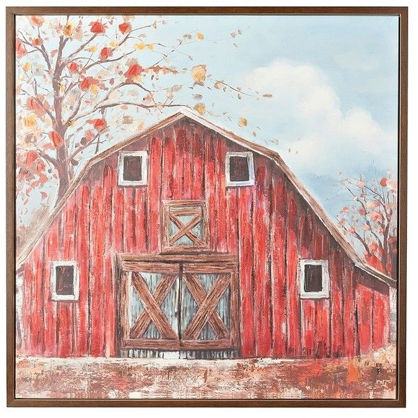 The Red Barn Framed Canvas Art Print (185 CAD) ❤ liked on ...