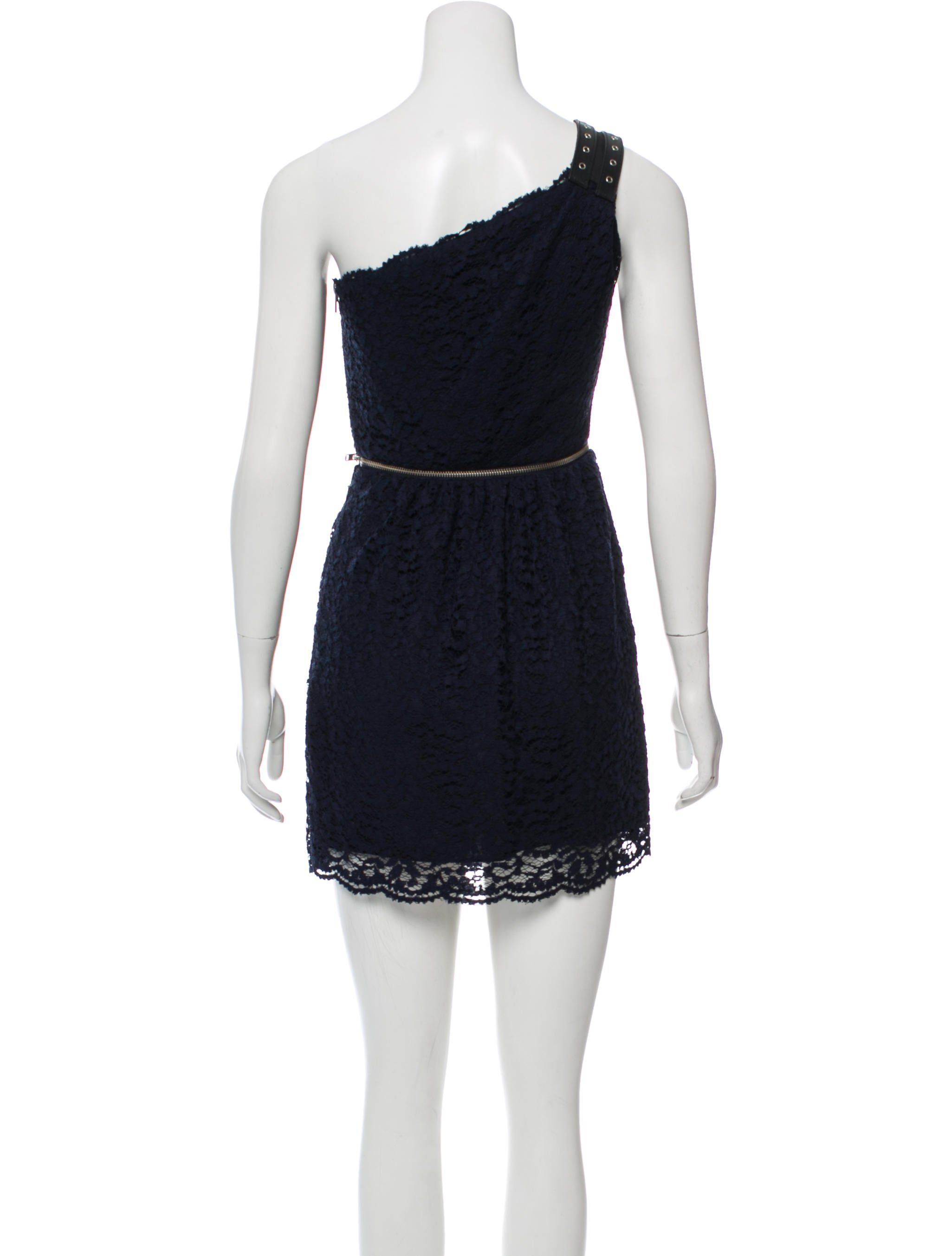 c4a17996233 Navy The Kooples one-shoulder mini dress with asymmetrical neck
