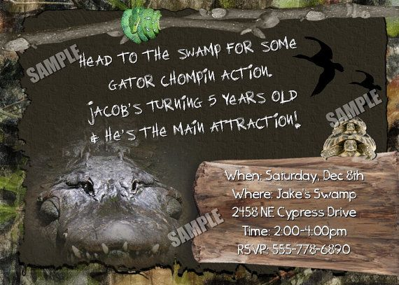 SWAMP Invitation Crocodile People HUNTING Boys Birthday Party Theme camo Camoflauge Boy Girls critter gator
