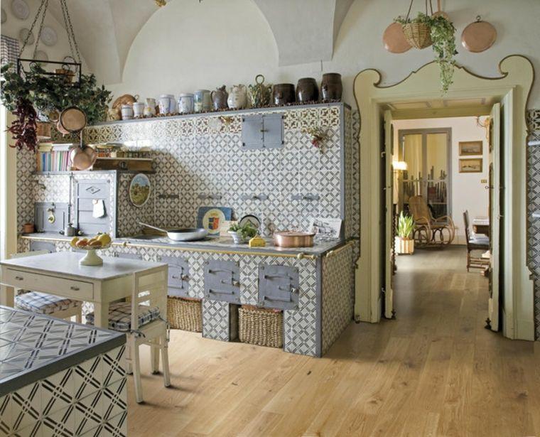 particolare proposta di cucina rustica in muratura a mosaico ...