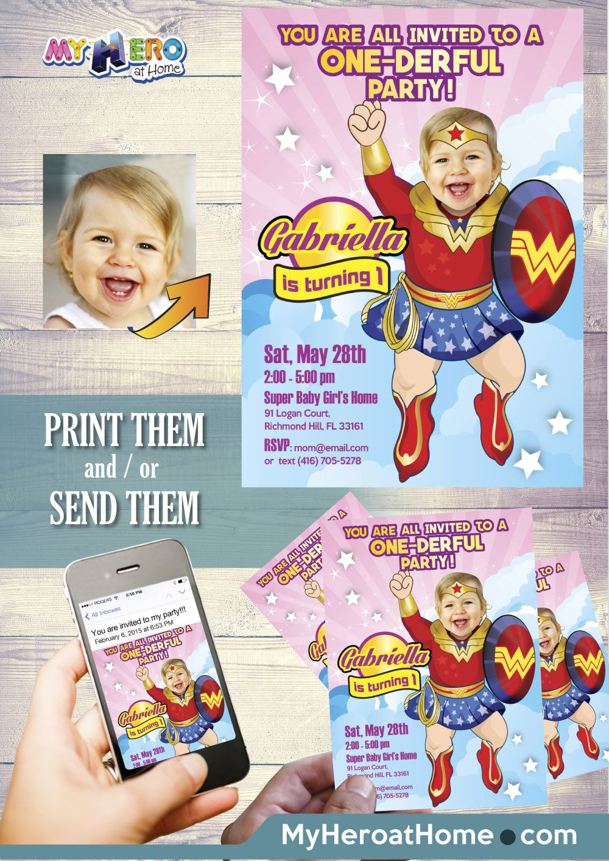 Wonder Baby Girl 1st Birthday Invitation. One-Der Girl Party Ideas ...