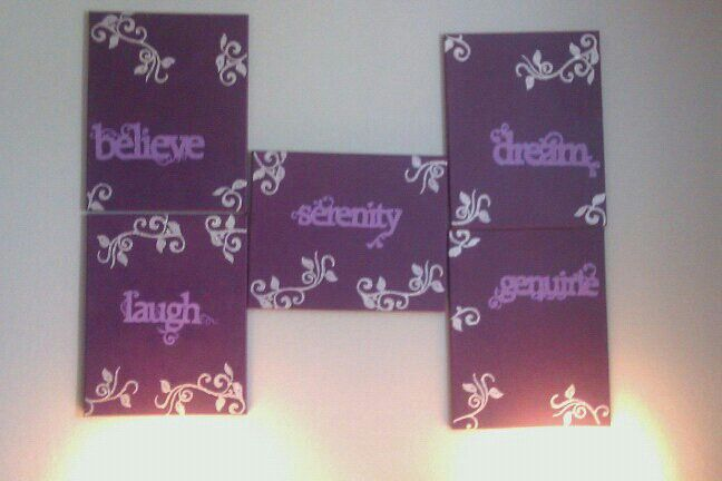 Canvases made to match my Bedroom. Purple and Silver. Believe,  Laugh, Serenity,  Dream, Genuine.  www.facebook.com/kraftykym2