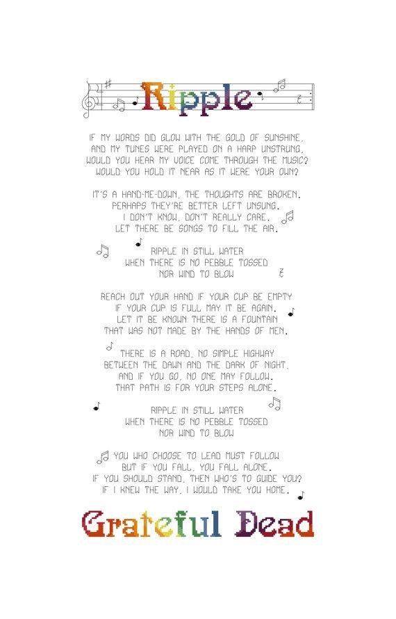 NO FRAME The Grateful Dead Ripple Song Print Lyrics Poster Lyrics Art