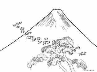 富士山と飛ぶ鳥の塗り絵の下絵画像 Coloring For Big People Big
