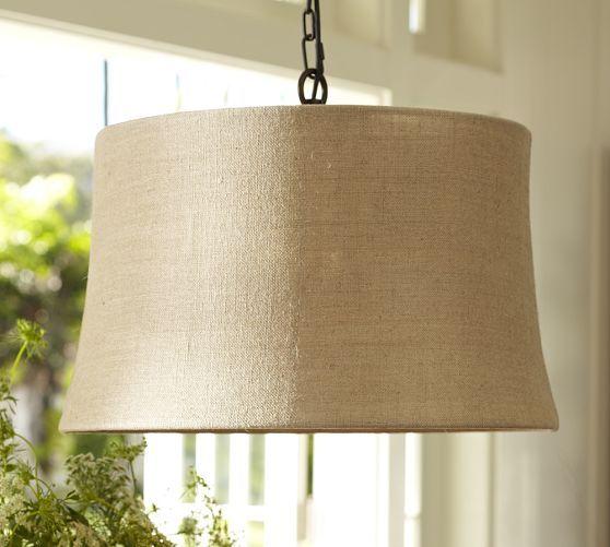 Pottery Barn Ceiling Light Fixtures: Burlap Drum Shade Pendant