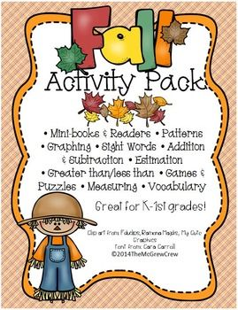FALL Activity Pack! This is full of math, reading and writing activities perfect for the upcoming Fall season! $