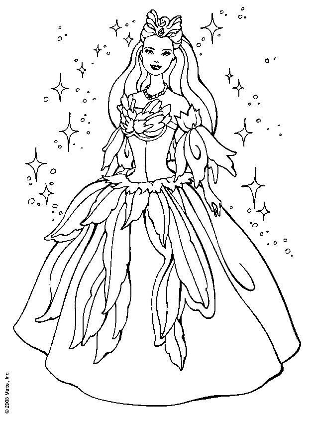 Printable Barbie Princess Dress Book Coloring Pages Printable