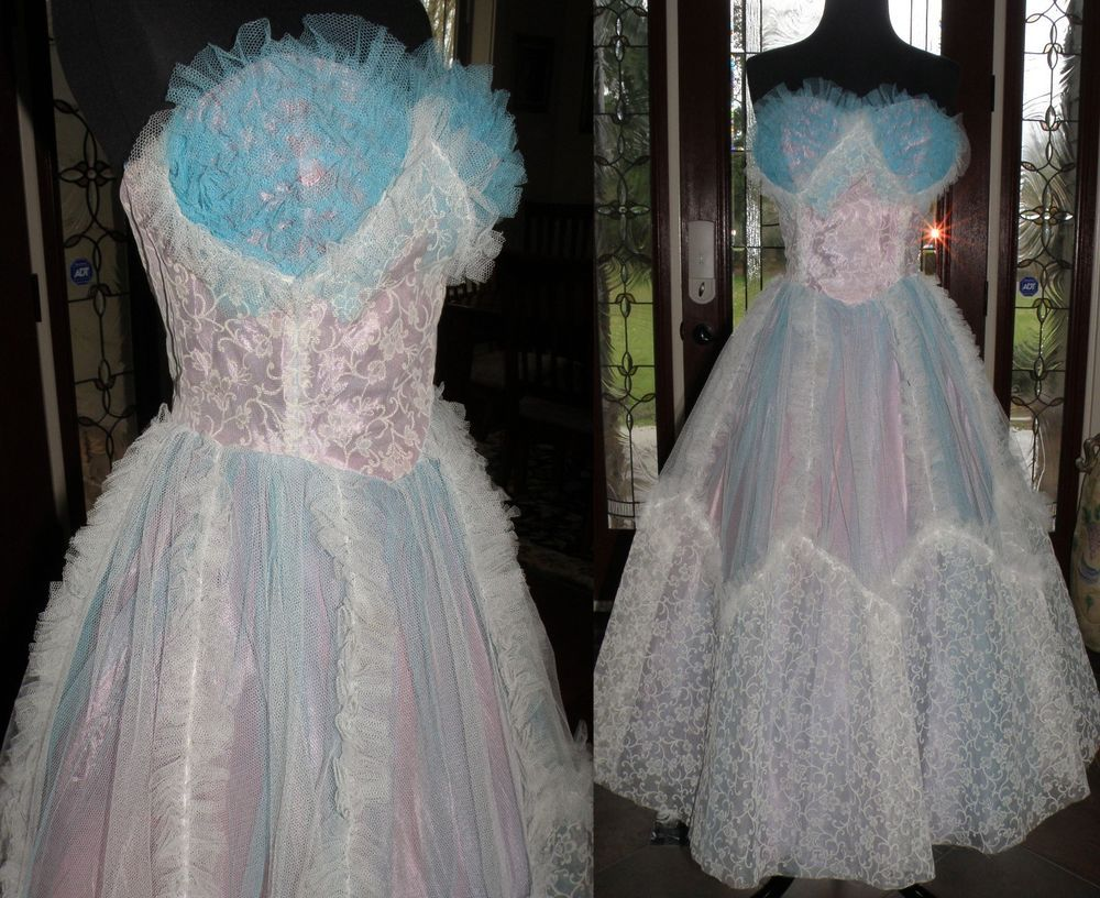 Vintage us formal prom dress medium back meal zipper typical
