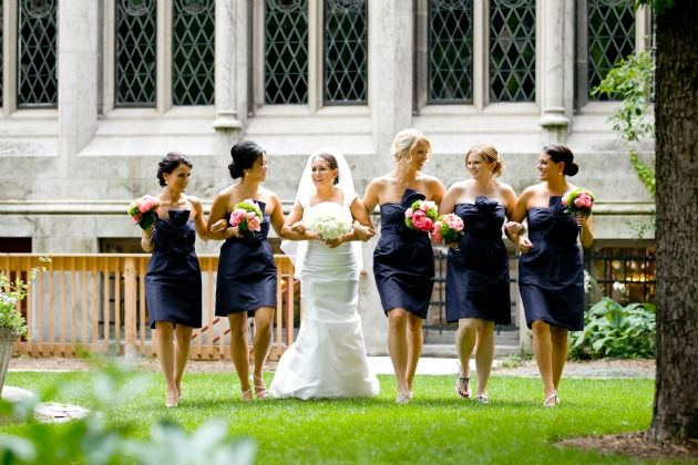 Bridesmaids Navy Blue Dresses With Pink Green Flowers