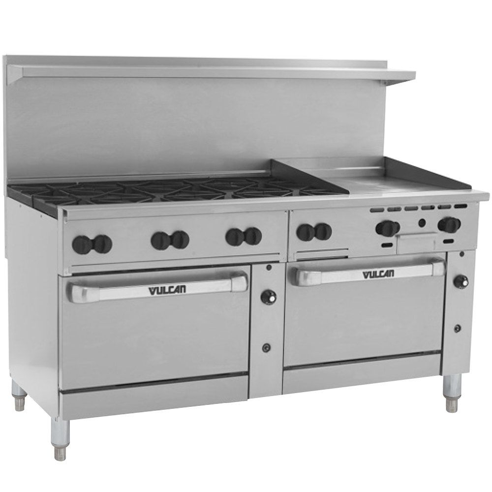 Vulcan 72ss 8b24gtn Endurance 8 Burner 72 Natural Gas Thermostatic Range With 24 Griddle And 2 Standard Ovens 350 000 Btu Convection Oven Outdoor Kitchen Bars Burners