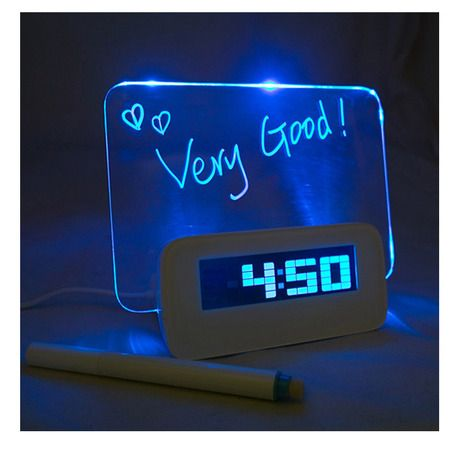 Highstar Creative Erasable Memo Board LED Alarm Clock With Highlighter    Blue At Savings Off Retail!