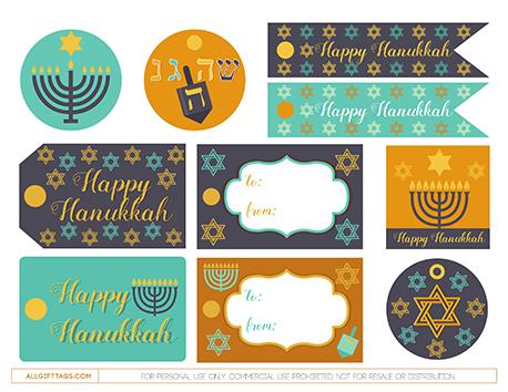 Digital hanukkah gift tags Gift tags printable Printable hanukkah tags Hanukkah decor Hanukkah gift tags printable DIY hanukkah tags